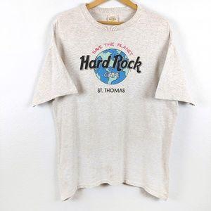 Vtg Hard Rock Cafe St Thomas Earth 90s Tshirt